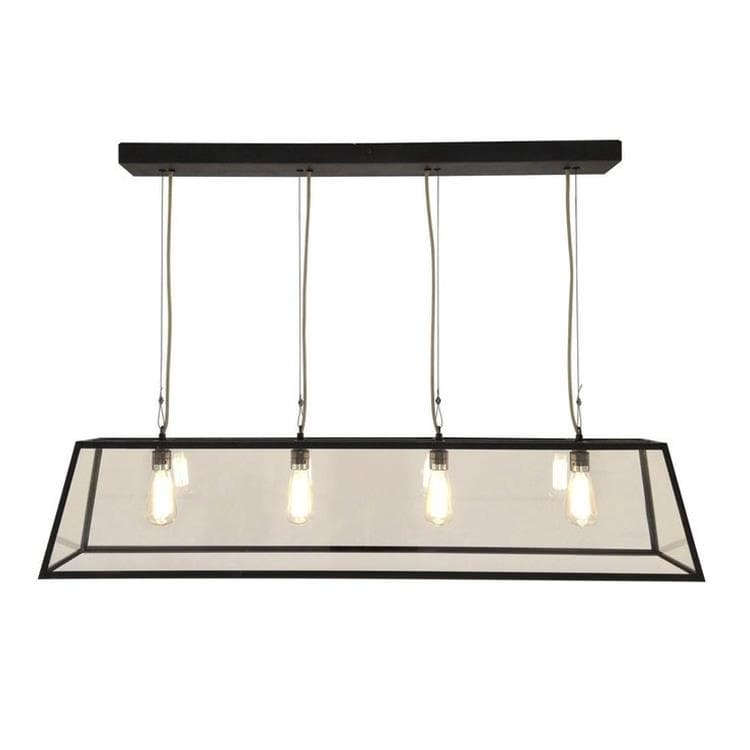 DINER 125 laiton patiné Suspension 4 lumières L125cm