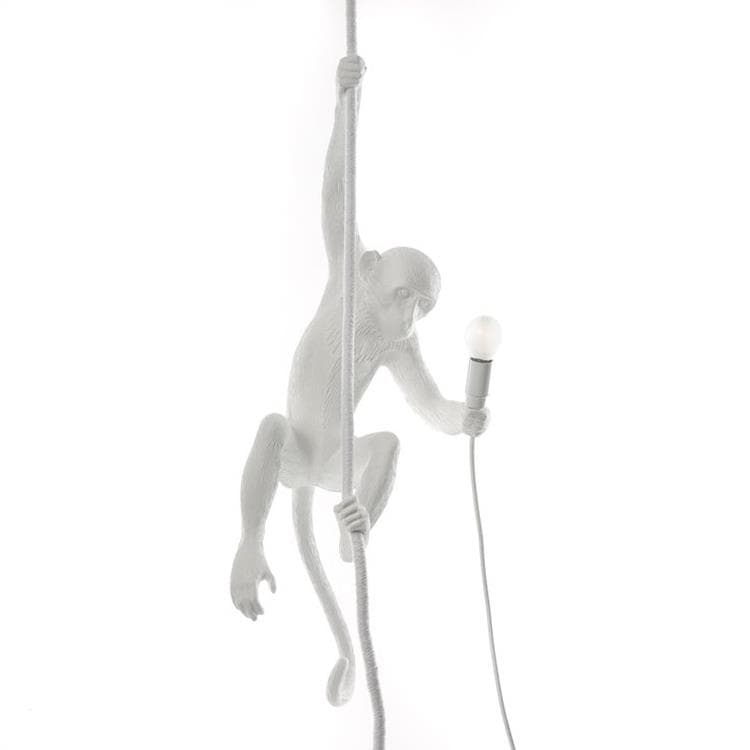 MONKEY Blanc Suspension d'extérieur Singe suspendu H80cm