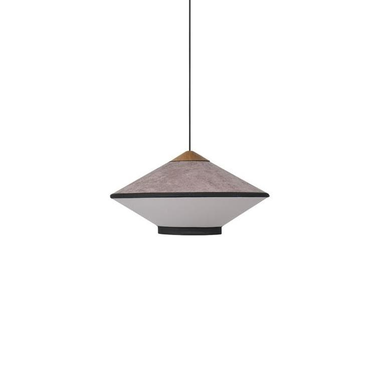 CYMBAL rose poudré Suspension en Velours / Lin et Bois Ø50cm