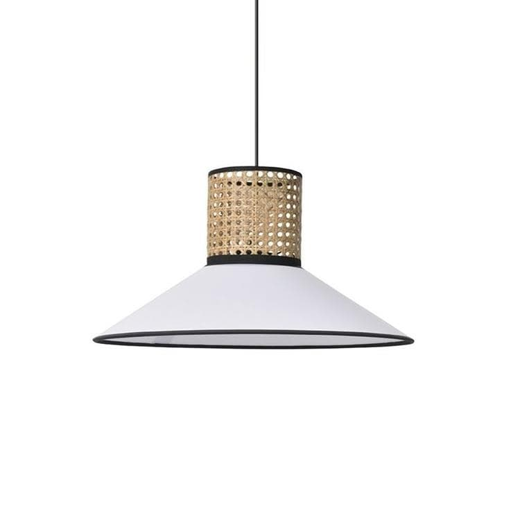 PENNSY Blanc Suspension conique Coton/Cannage Ø44cm