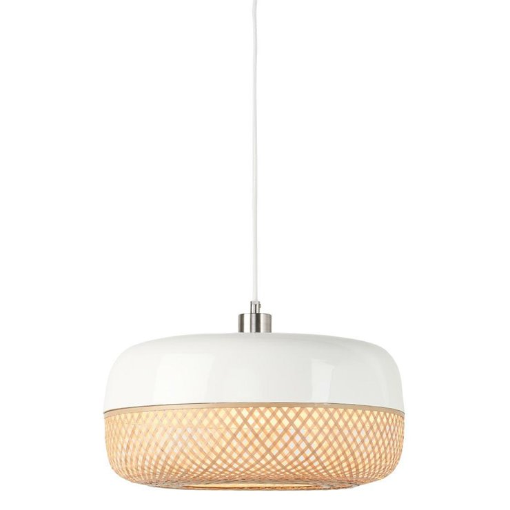 MEKONG Blanc Suspension Bambou Naturel H22cm