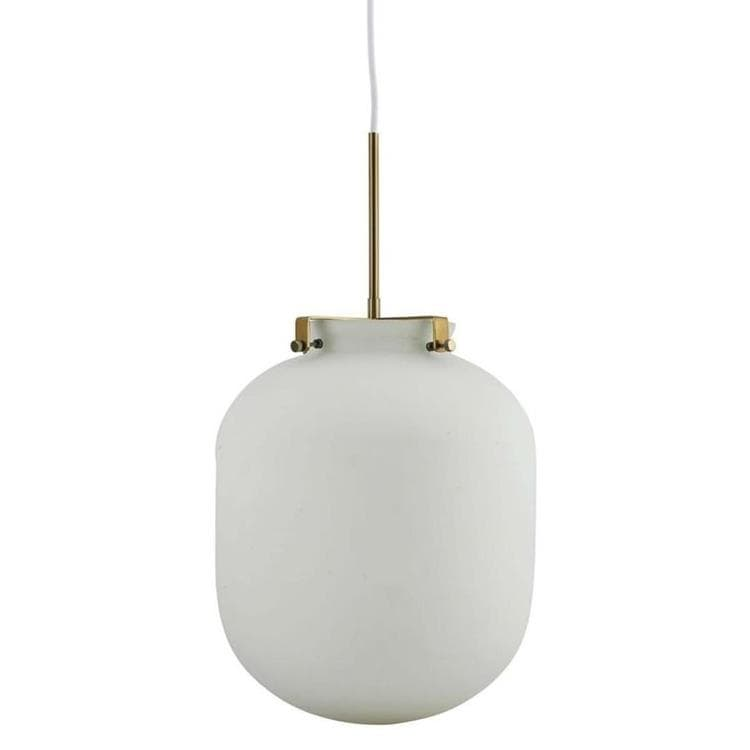 BALL blanc opalin laiton Suspension Verre & Métal Ø30cm