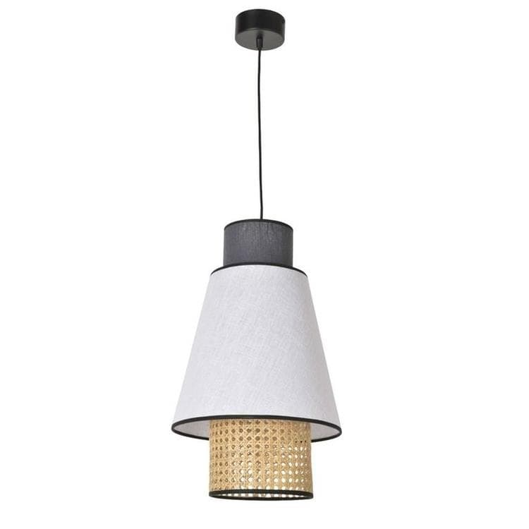 SINGAPOUR blanc anthracite Suspension Cannage & Lin Naturel Ø30cm