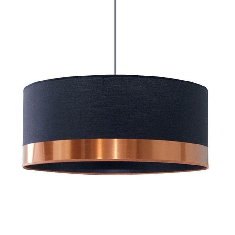 COPPER noir cuivre Suspension Cylindre Textile Ø48cm