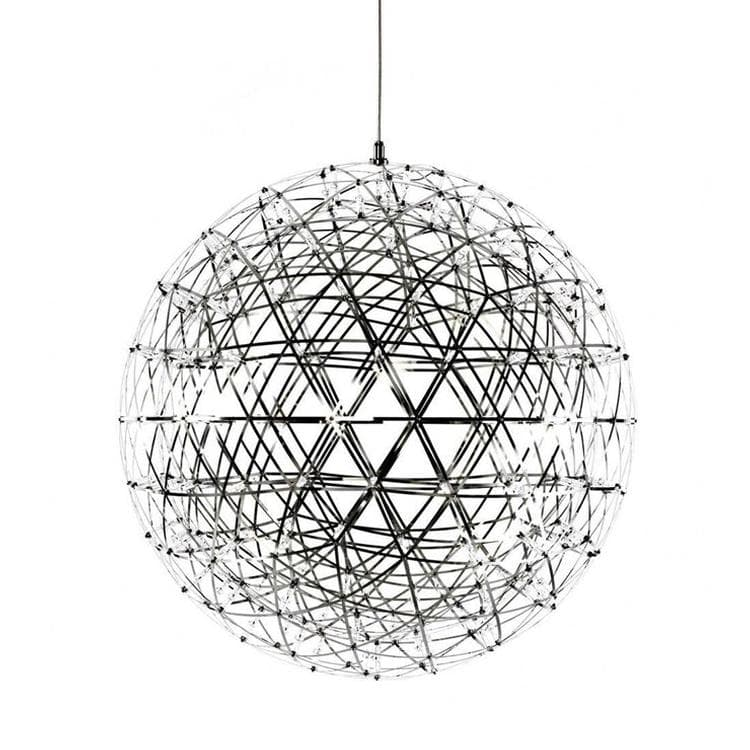 RAIMOND Argenté Suspension LED 162 Lumières Inox Ø61cm