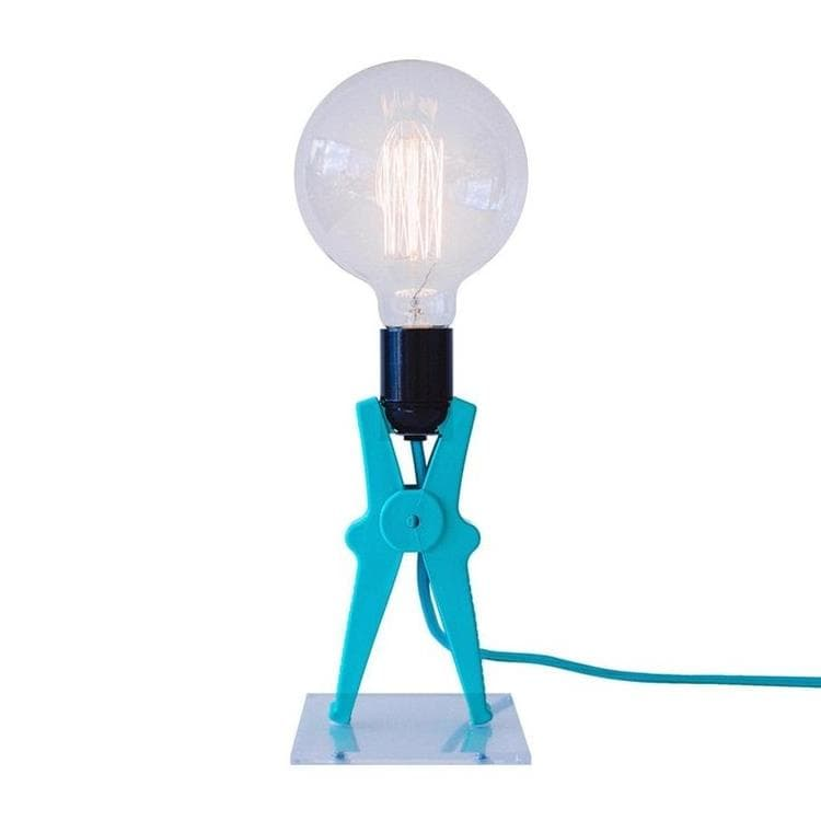 CROCO turquoise Lampe à poser Pince H36cm