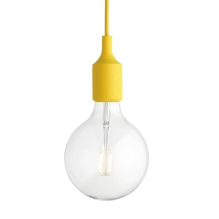 E27 Jaune Suspension avec ampoule LED Ø12,5cm