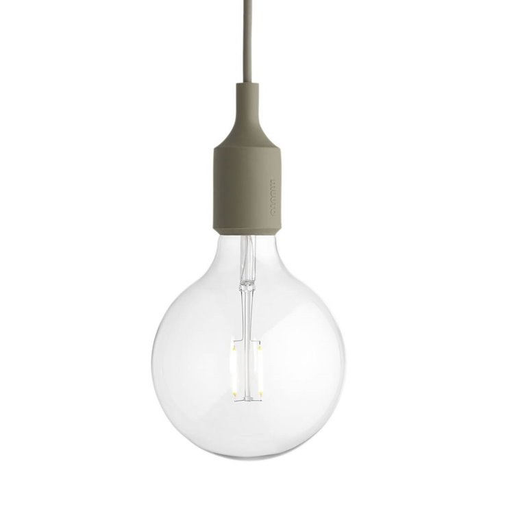 E27 Vert Olive Suspension avec ampoule LED Ø12,5cm