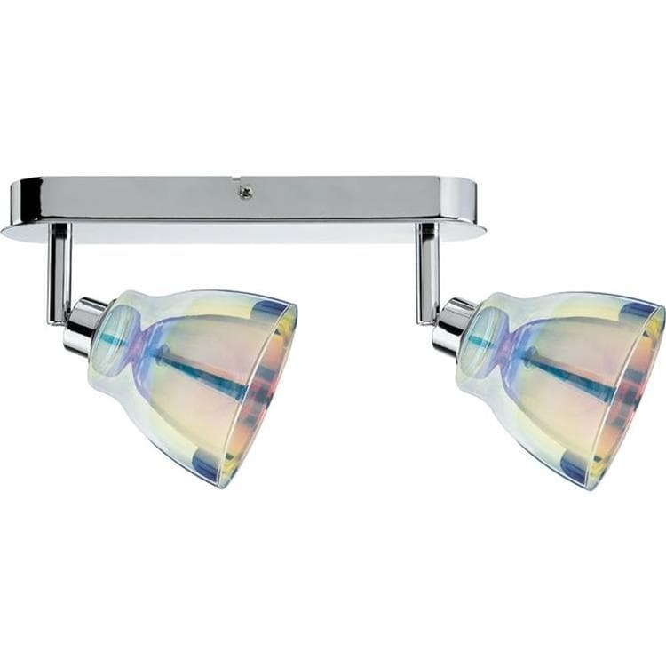 Spot Paulmann - Dichroic - Barre De 2 Spots Orientables Verre/chrome L26,5cm (photo)