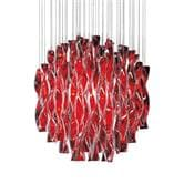 Suspension AXO Light AURA - Lustre Transparent Rouge Ø47cm