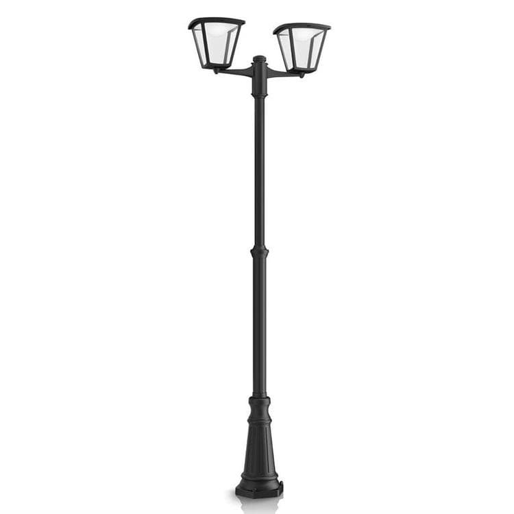 lampadaire d 39 ext rieur led 2 lumi res noir h210cm. Black Bedroom Furniture Sets. Home Design Ideas