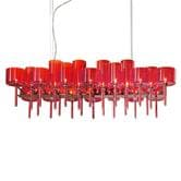Suspension AXO Light SPILLRAY - Lustre rectangulaire 26 Lumières Rouge L116cm