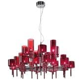 Suspension AXO Light SPILLRAY - Lustre rond 30 Lumières Rouge Ø118,8cm