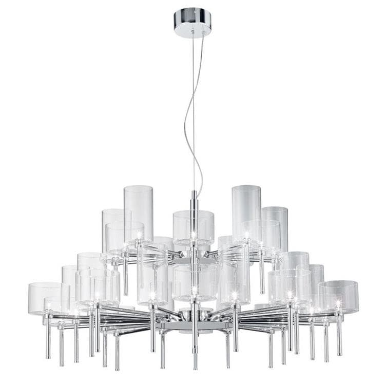 SPILLRAY Transparent Lustre rond 30 Lumières Ø118,8cm