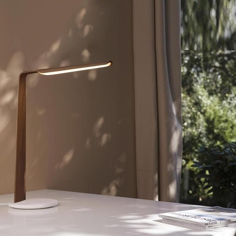SWAN TABLE noyer Lampe de bureau LED Bois Tactile H55cm