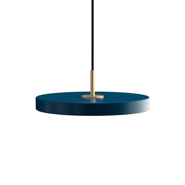 ASTERIA Bleu pétrole Suspension LED Acier/PMMA Ø43cm