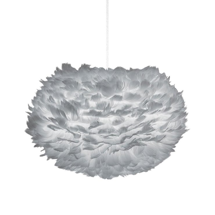 EOS MEDIUM gris Suspension Plume Ø45cm + Câble Blanc 2,1m