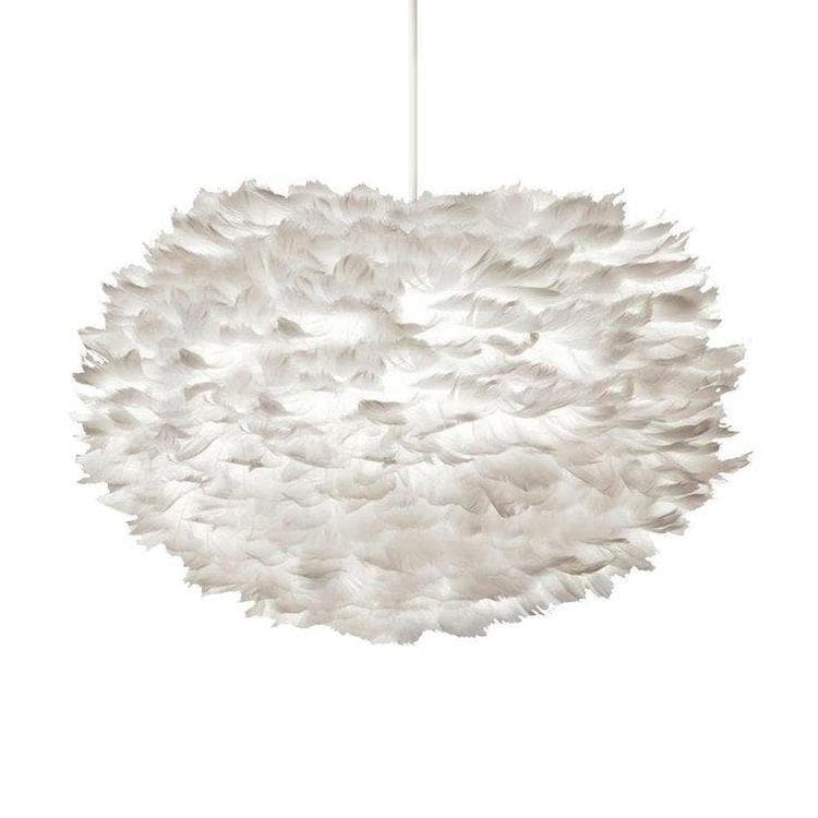 EOS LARGE Blanc Suspension Plume Ø65cm + Câble Blanc 2,1m