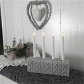Lampe à poser Xmas Living Glass KNITTED - Chandelier Mailles Gris 4 bougies à ampoules