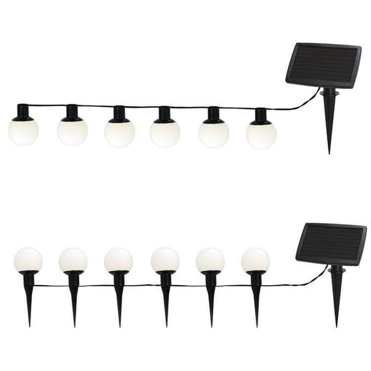 guirlande d 39 ext rieur solaire 6 boules blanc led piquer ou suspendre l5m balls combo. Black Bedroom Furniture Sets. Home Design Ideas