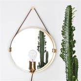 applique Globen Lighting HANGOVER - Applique miroir Laiton/Cuir Naturel Ø35cm