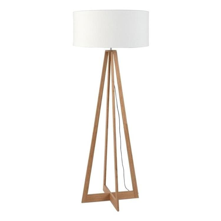 EVEREST Blanc Lampadaire Bambou & Lin Naturel H127cm