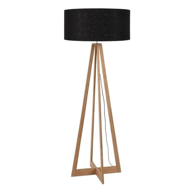 EVEREST Noir Lampadaire Bambou & Lin Naturel H127cm