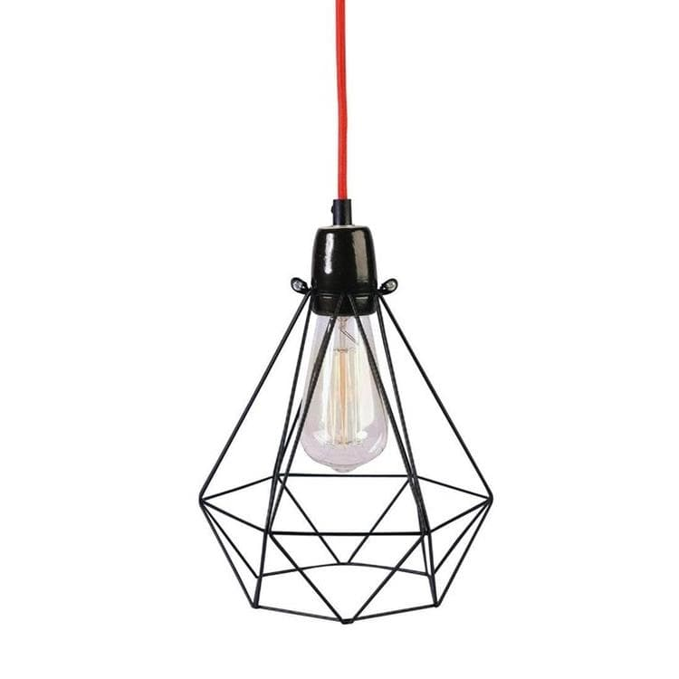 Diamond 1 Lampe Baladeuse Metal Filaire O18cm Noir Cable Rouge