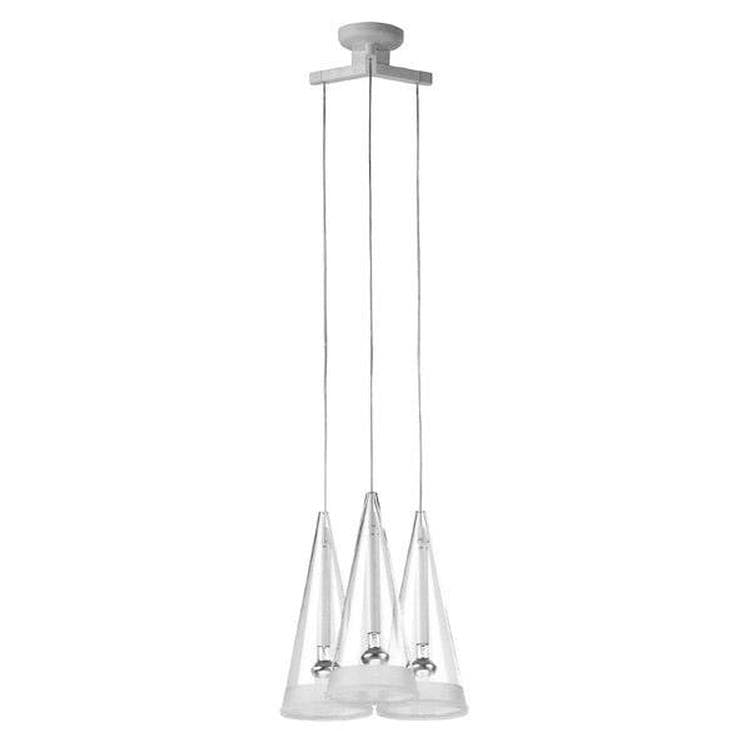 FUSCIA 3 Transparent Suspension 3 Lumières Verre 31x33cm
