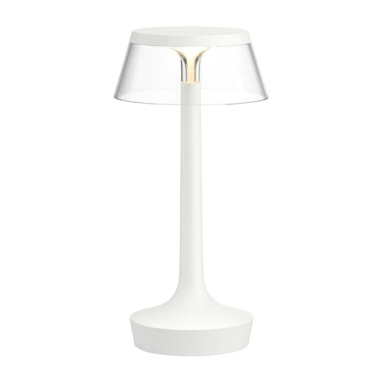 BON JOUR UNPLUGGED Blanc Transparent Lampe à poser LED rechargeable H27cm