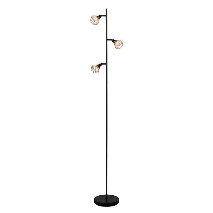 lampadaire 3 lumi res orientables noir et cuivre h165 5cm dalma lampadaire brilliant design. Black Bedroom Furniture Sets. Home Design Ideas