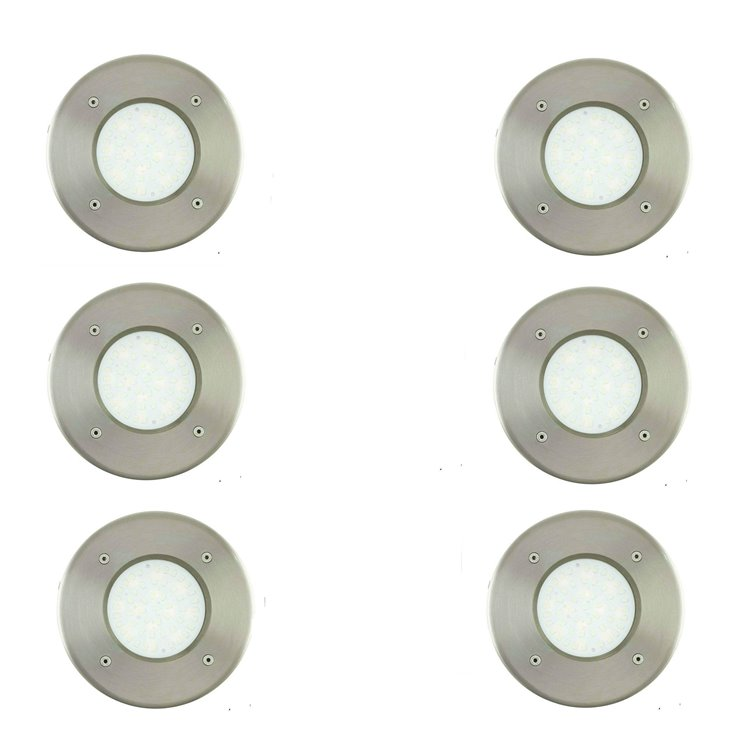 LAMEDO  Lot de 6 Spots d'extérieur encastrables LED Blanc Chaud Nickel Ø10cm