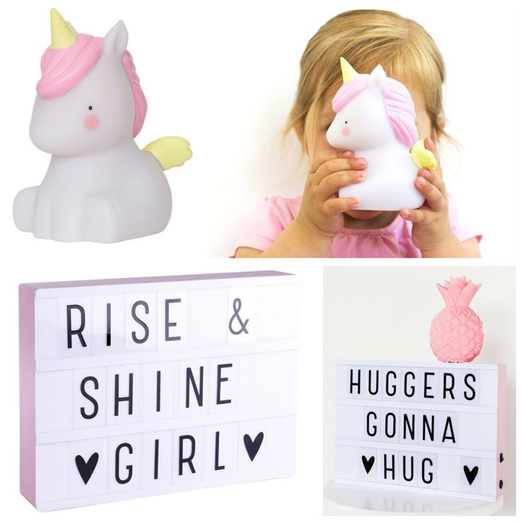 Coffret Licorne  Veilleuse LED Licorne & Light Box A4 Blanc/Rose