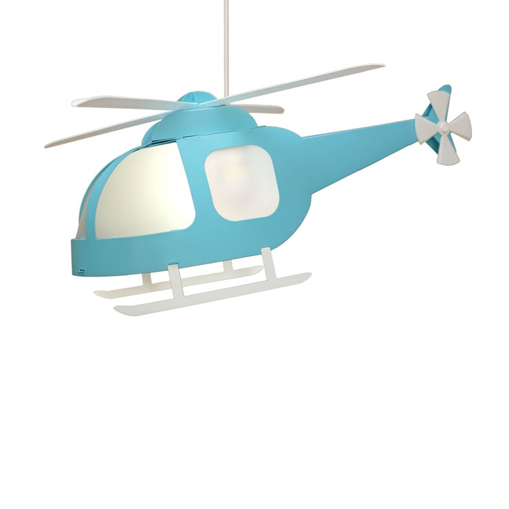 HELICOPTERE bleu turquoise Supension Hélicoptère H23cm