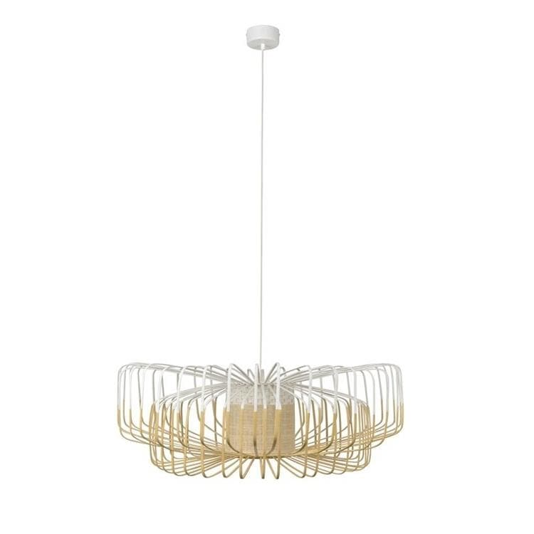 BAMBOO Blanc Suspension en Bambou Up & Down Ø80cm