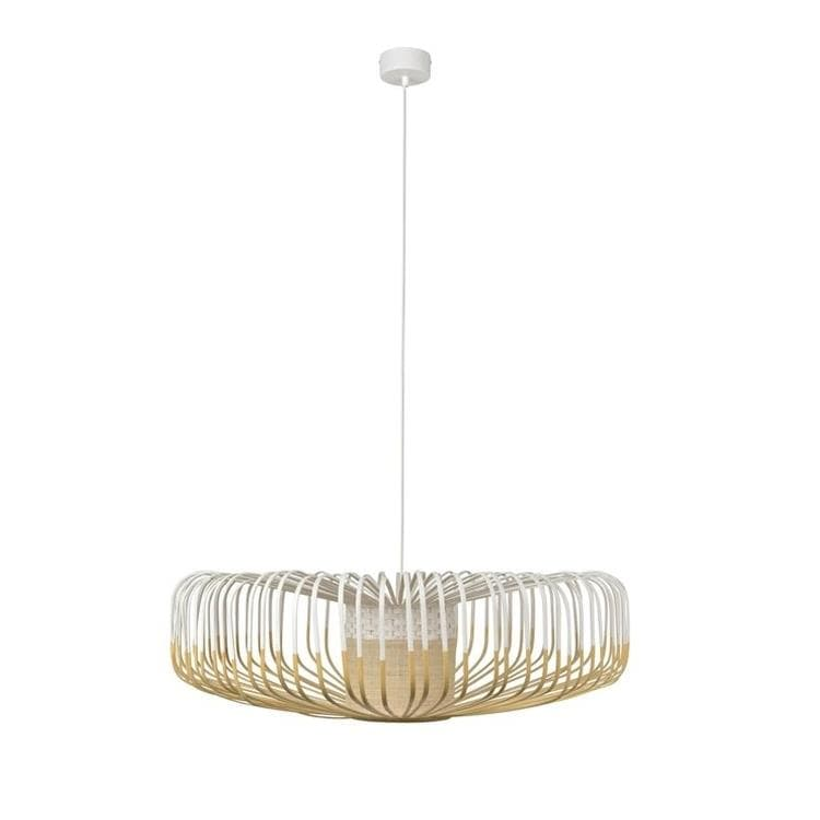 BAMBOO Blanc Suspension en Bambou Up Ø80cm