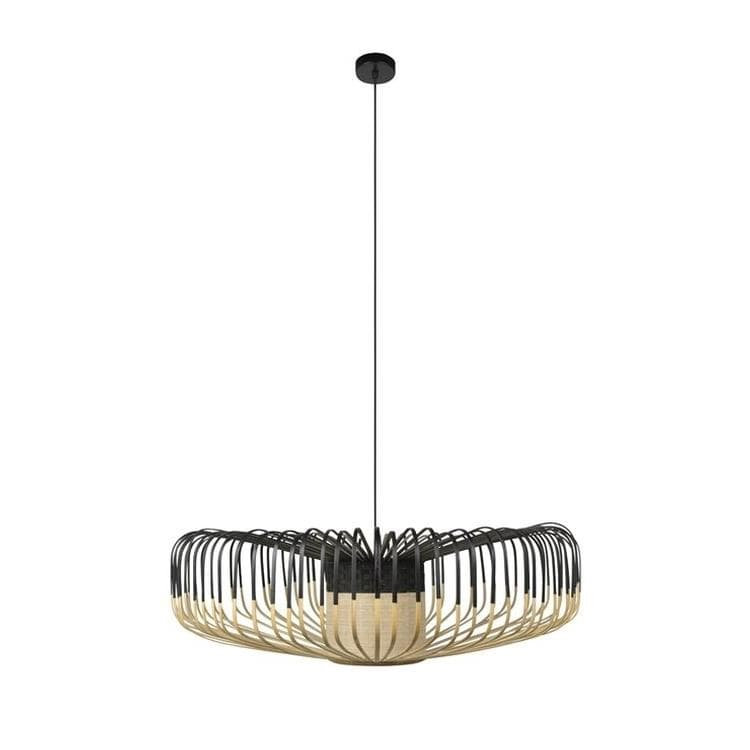 BAMBOO Noir Suspension en Bambou Up Ø80cm
