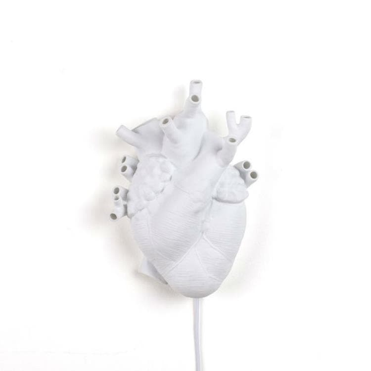 HEART Blanc Applique Cœur Porcelaine H32cm