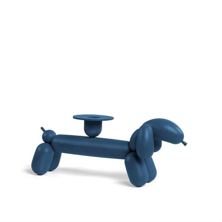 CAN DOG Gris Bleu Bougeoir Aluminium L28,5cm