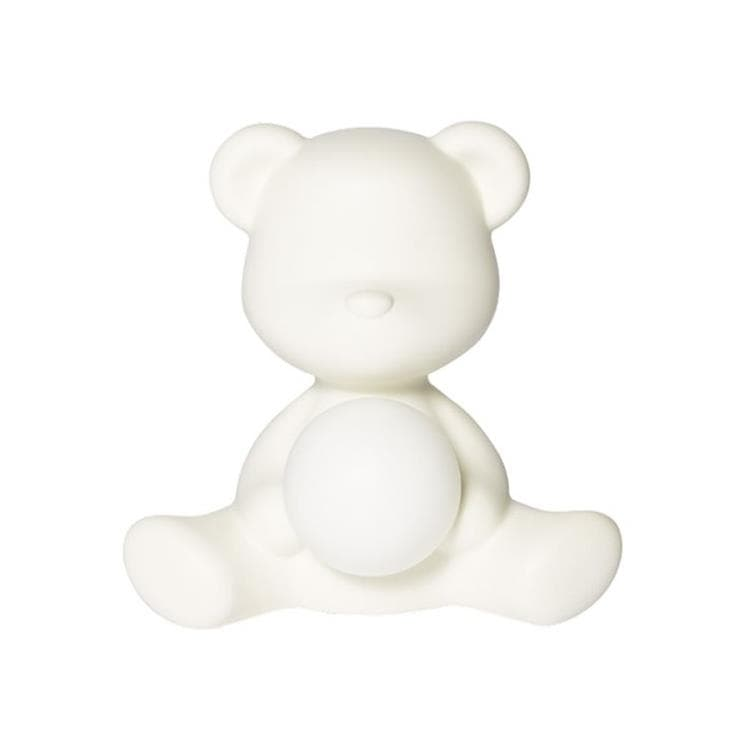 TEDDY GIRL Blanc Lampe LED rechargeable Ourson Polyéthylène H32cm