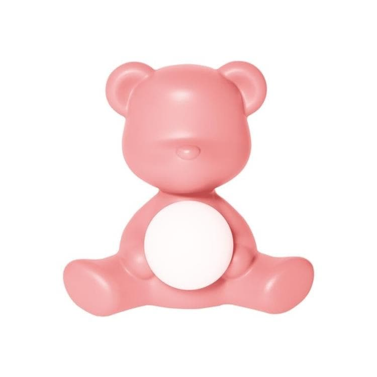 TEDDY GIRL Rose clair Lampe LED rechargeable Ourson Polyéthylène H32cm