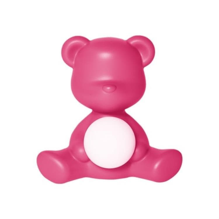 TEDDY GIRL rose fuchsia Lampe LED rechargeable Ourson Polyéthylène H32cm