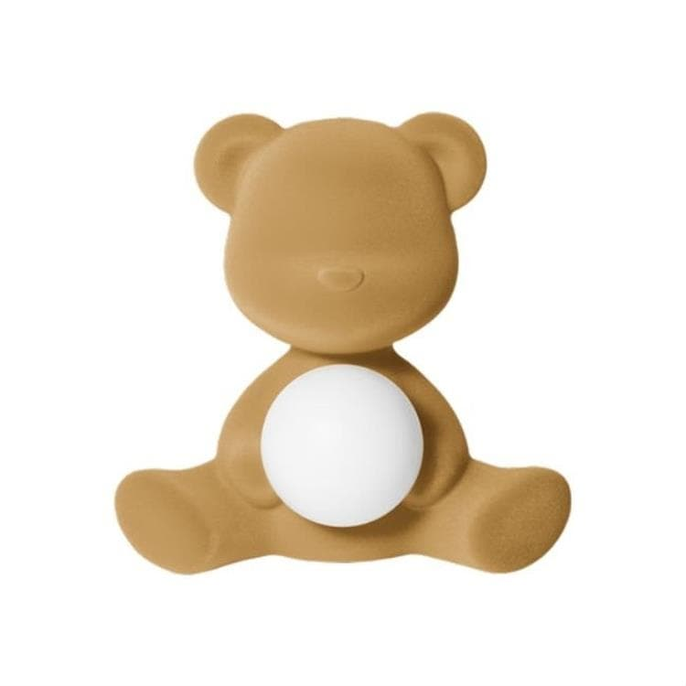 TEDDY GIRL Beige sable Lampe LED rechargeable Ourson Velours H32cm