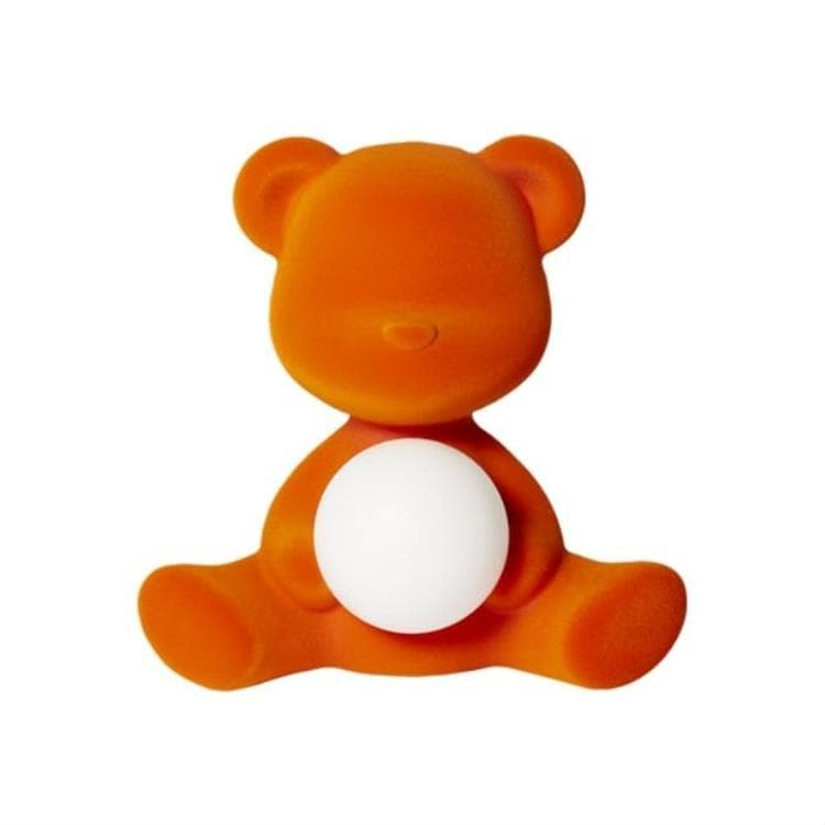 TEDDY GIRL Orange Lampe LED rechargeable Ourson Velours H32cm