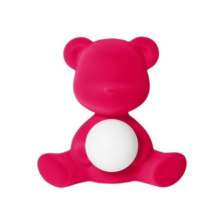 TEDDY GIRL rose fuchsia Lampe LED rechargeable Ourson Velours H32cm