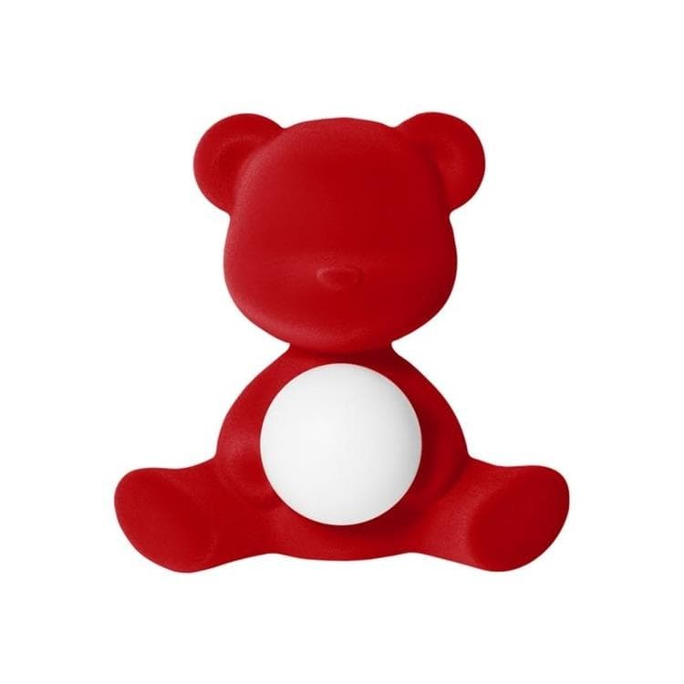 TEDDY GIRL Rouge Lampe LED rechargeable Ourson Velours H32cm