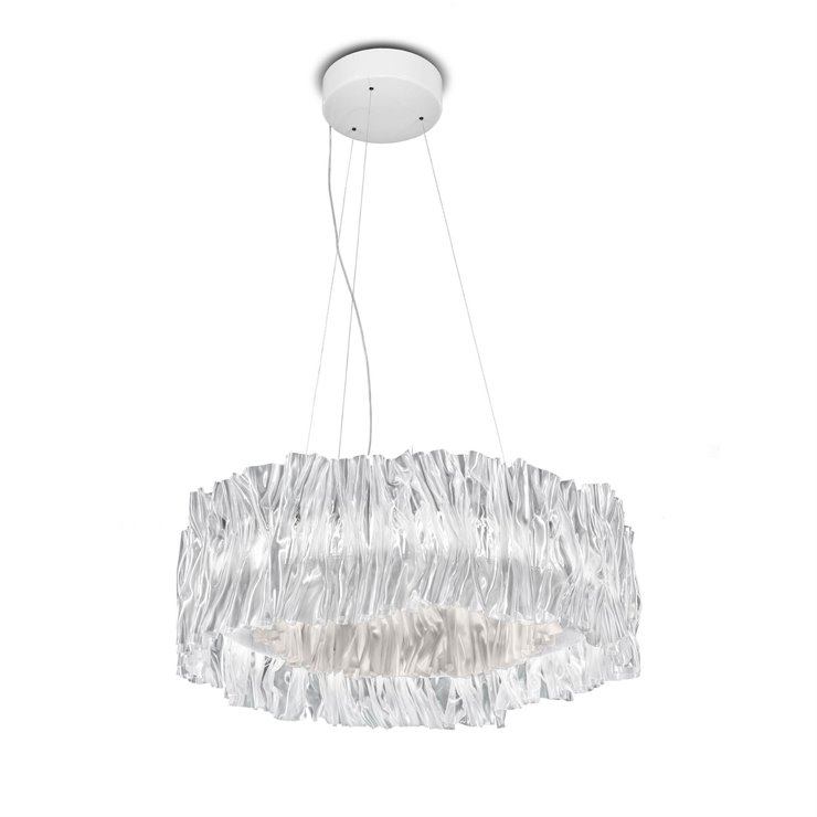 ACCORDEON Transparent intérieur blanc Suspension LED effet plissé Technopolymère Ø57cm