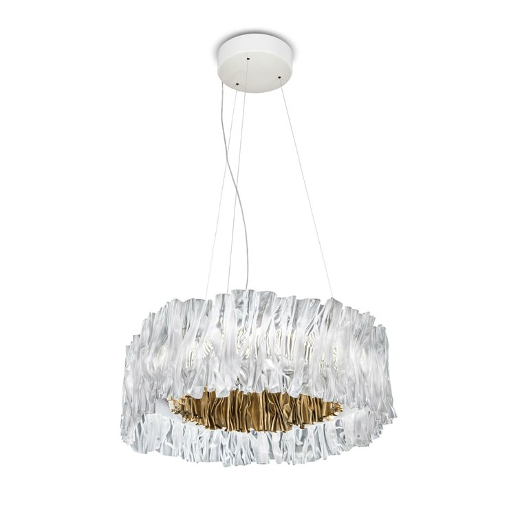 ACCORDEON Transparent intérieur doré Suspension LED effet plissé Technopolymère Ø57cm
