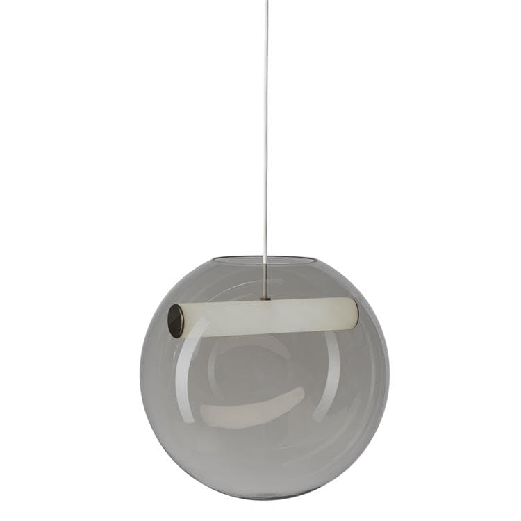REVEAL gris fumé Suspension LED Verre/Métal Ø35cm