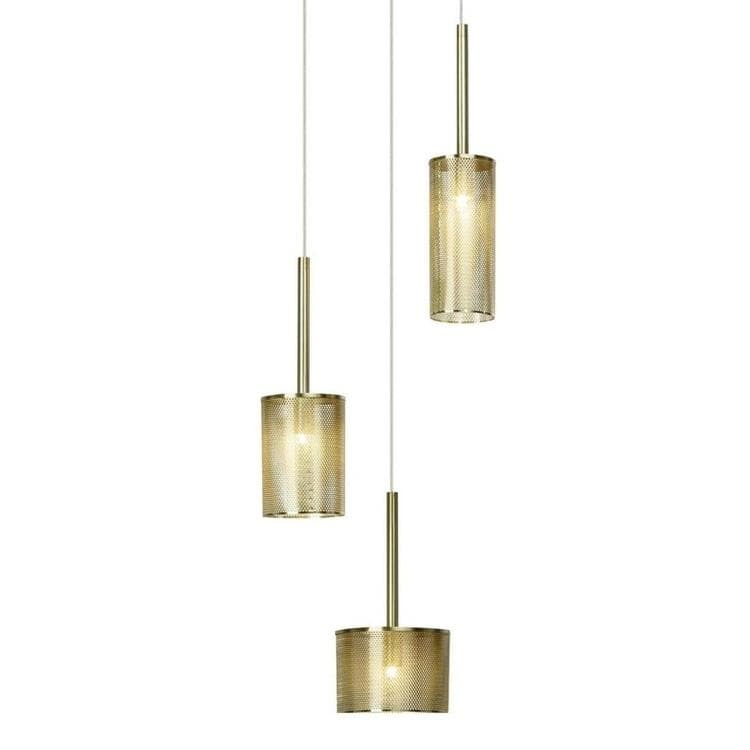 GRACIAN Laiton brossé Suspension 3 lumières Métal perforé Ø25cm